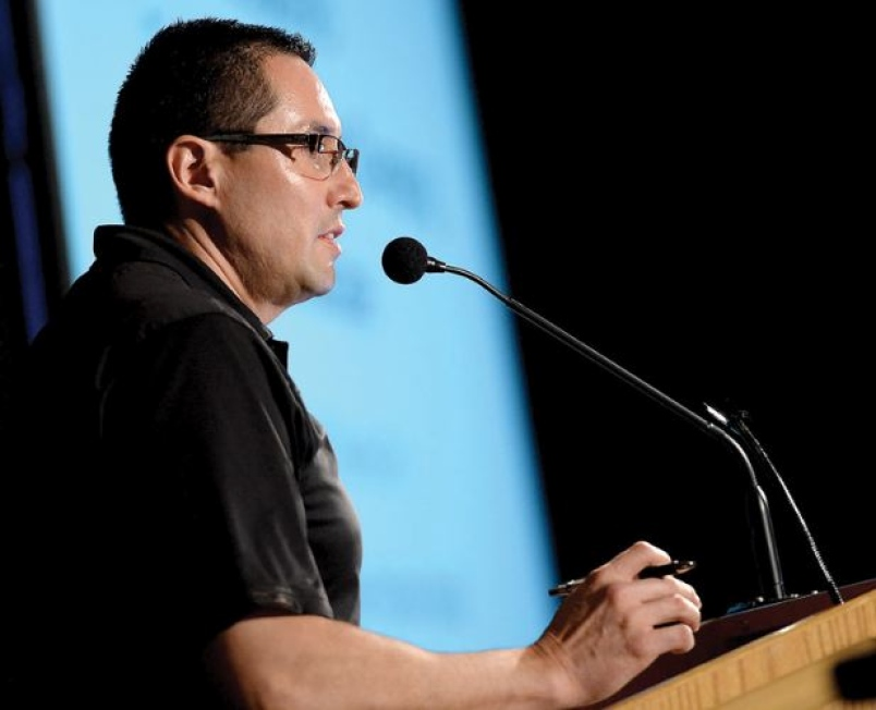 Chief Derek Orr of the McLeod Lake Indian Band speaks at the 2015 COFI convention at the Prince George Civic Centre on April 8, 2015.   - Brent Braaten, Photographer