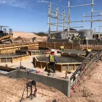 Concrete being poured within the SX/EW Copper Processing Plant (April 10, 2018)