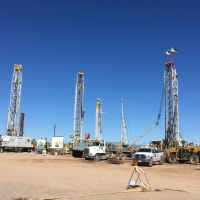 Five drill rigs working 24/7 on the Florence Copper property to install injection/recovery wells, monitoring wells, and other needed wells for the PTF (March 14, 2018)