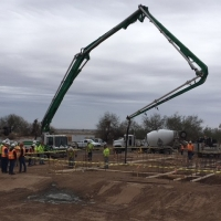 Concrete foundation being poured for the Solvent Extraction and Electrowinning Process Plant (March 14, 18)